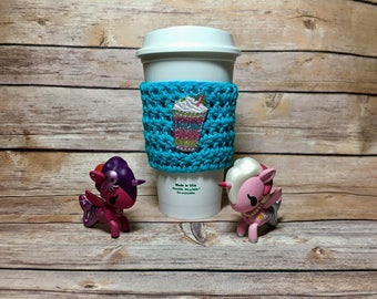 Magical Coffee Cup, cup cozy, coffee cup cozy, crochet cup cozy, coffee cup sleeve, crochet cozy, crochet cozie, Starbucks Dunkin coffe