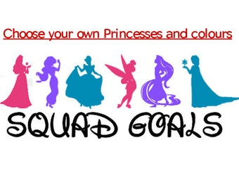 Vinyl Sticker for Car/Wall/Window Disney Princess Inspired Squad Goals Decal