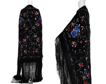 1920s Black Silk Piano Shawl with Colourful Floral Embroidery