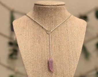 Lavender Agate Lariat Style Y Necklace