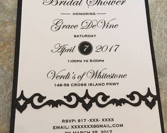 Black and White Bridal shower invite