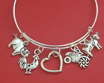Farm Girl Themed Charm Bracelet