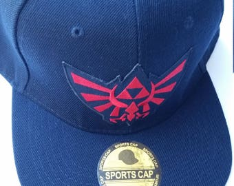 Legend of Zelda Snapback Hat with a Red Hyrule Triforce Patch (FREE SHIPPING!!)