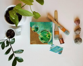 "Green + gold embroidered mixed media watercolor + acrylic painting // Nature Inspired expressionism on canvas //  ""Balance. 1"" // 6x6"