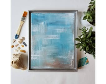 "Original Acrylic Artwork //Nature Inspired Abstract Expressionist Painting //  11×14 // blue, white, tan // ""Beach Brush. 1"""
