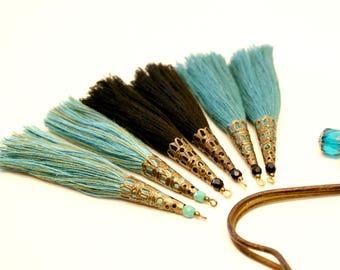 6 large tassels, Large Tassel, black, emerald green, blue, seafoam, Turquoise, Khaki, shell flower, Pearl Turquoise