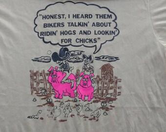 Vintage biker tan t shirt novelty XL motorcycle comedy