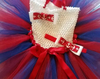 Toddler Girl 4th of July Tutu Dress and Headband, Nautical 4th of July Toddler Dress Set