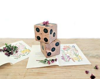 large vintage wooden dice pair   oversize dice home decor