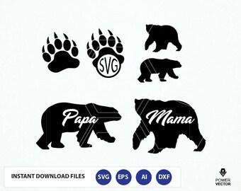 Bear svg file, bear monogram file - bear clipart digital download svg, eps, dxf, png, Silhouette studio file. Mama Bear Svg. Papa Bear Svg