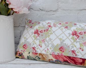 "One off vintage patchwork bolster cushion 40x20cm 16x8"" with feather insert Rectangular bolster pillow made from vintage Laura Ashley fabric"
