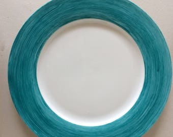 1 Round plate dessert; Collection Milleraies vintage. Rose or blue hand painted plates. Unique model. Ready to ship.