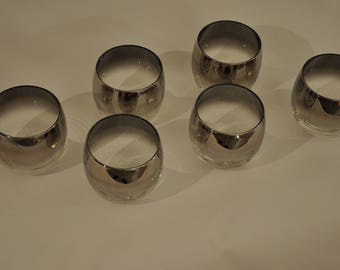 Set of 6 Dorothy Thorpe Style Roly Poly Silver rimmed glasses