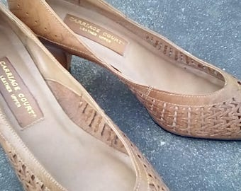 Vintage Leather Carriage Court made in BRAZIL Slip on Brown Heels Shoes 8 1/2 B