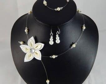 Parure Loane 3 pièces mariage ivoire et blanc fleur - personnalisable