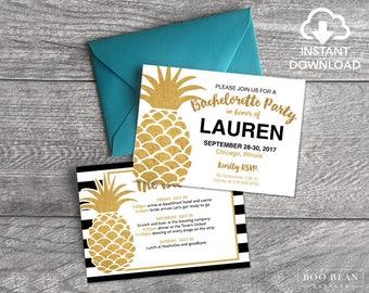 Gold Pineapple Stripes Bachelorette Invitation | Printable Invitation | Bachelorette Party | Weekend party | Hens Night | Hens Party