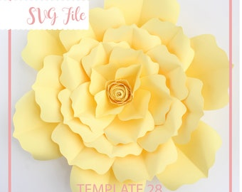 SVG Paper Flower Template, Giant Paper Flower Templates, Digital Paper Flower, Cricut and Silhouette Ready, Base Including