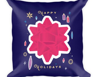 Happy Holidays Square Pillow | Holiday Art | Christmas Art | Gift Idea