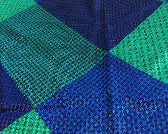 Blue and Green Italian Silk Triangular Scarf Vintage 1960s