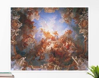 "Francois Lemoyne, ""The Apotheosis of Hercules"". Art poster, art print, rolled canvas, art canvas, wall art, wall decor"