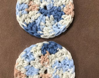 Crochet car cup holder coaster set of 2