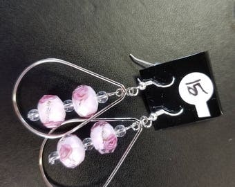 Pink with rose silver earrings