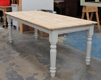 7ft Painted Scrub Top Pine Table
