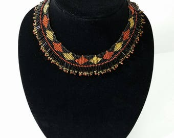 African Beaded Thandi Necklace - Brown Gold Black