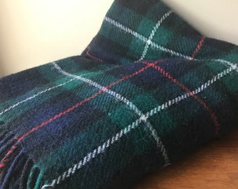Highland Home Industries Wool Throw Blanket, Made in Scotland, Vintage Navy Green Mackenzie Tartan Blanket,