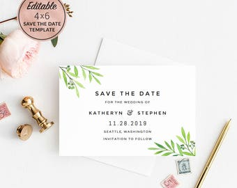 Greenery Wedding Save The Date Template Download, Editable PDF Save The Date Template,Printable Watercolor Save Date Card Instant Download.