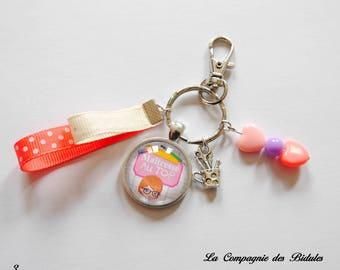 "Handbag charm / keychain ""gift teacher heart bead, charm, Ribbon"""
