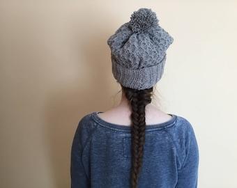 Aran Wool Grey Beanie Hat