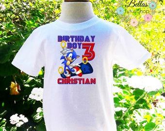 Sonic Birthday Boy Shirt Sonic Shirt Sonic Shirt Boys Birthday Shirt Personalized Shirt Birthday Shirt-SB001