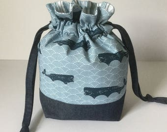 Whale Design Drawstring Project Bag, Sock Knitting Project Bag