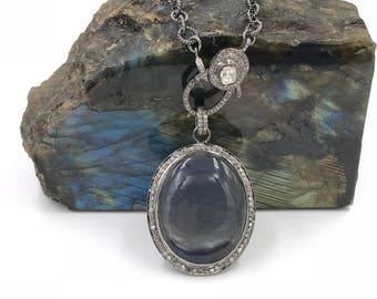 Short diamond blue labradorite necklace, Sterling silver necklace, Pave diamond jewelry, Diamond pendant