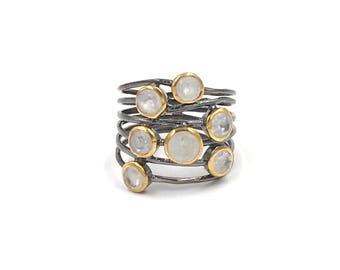 New design:  Sterling silver moonstone confetti ring