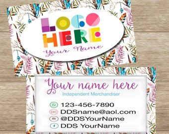 Boho Feathers Business Card, Digital Download, Personalized, Printable DotDotSmile, card for any business,