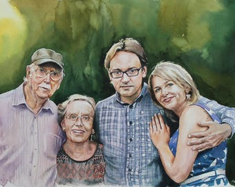 gift for men watercolor portrait Family portrait Child Portrait Custom Painting watercolor Painting Wedding Portrait From Photo Original