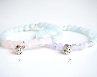 PASTEL LOTUS - Bracelet Mala Aquamarine and choice: Rose quartz or Amethyst, lotus flower charm.