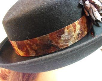 Black Derby Bowler Felted Wool Hat with Floral Trim Vintage 90's Church Dress Hat / Stevie Nicks Hat