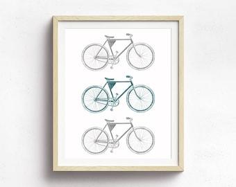 Bike Art, Bike Poster, Bicycle Decor, Vintage Bicycle Art Print, Bicycle Wall Art