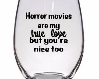 Horror Movies True Love Valentines Horror Pint Wine Glass Tumbler Alcohol Drink Cup Barware Halloween Merch Massacre