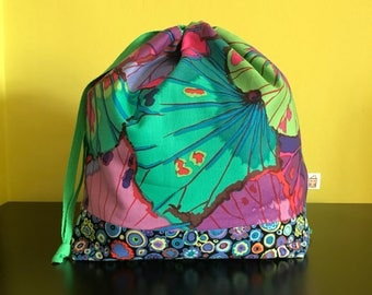 "Handmade drawstring bag / pouch for knitting crochet project 10.5"" x 8"" x 3.5"" *KFC Coloursplash*"