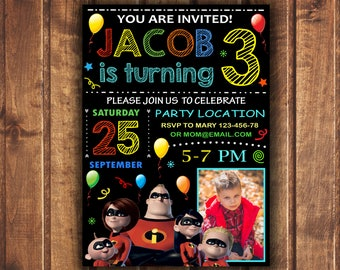 The Incredibles Invitation, The Incredibles Birthday Invitation, The Incredibles, Invites, Super Heroes, Personalized, Printables