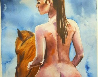 Original watercolor painting  nude woman naked