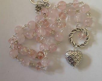 Rose Quartz pendant necklace pink necklace pendant necklace gemstone beaded necklace handmade necklace rose quartz semi precious necklace