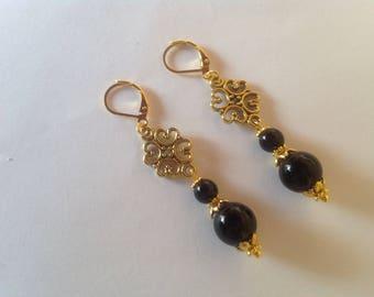 Black pearl drop earrings black earrings drop earrings long earrings dangle earrings pearl earrings
