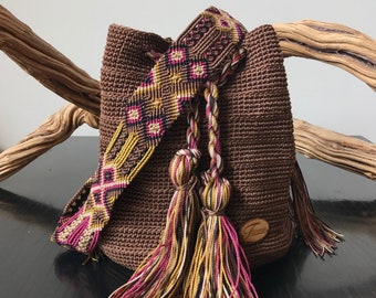 Hand knitted Mexican backpack, hippie bag, hobo bag