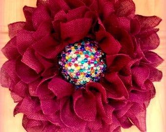 Christmas Wreath, Holiday Wreath,  Burlap Wreath,  Poinsettia Wreath, Flower Wreath, Rose Burgundy Red Door Rhinestone
