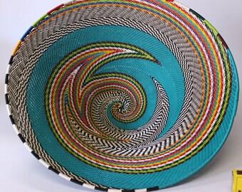isiZulu telephone wire bowl (Imbenge bowl), turquoise